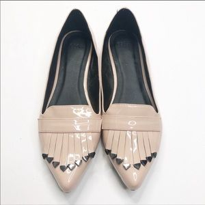 Asos Patent Leather Nude Kiltie Fringe Flat Loafer